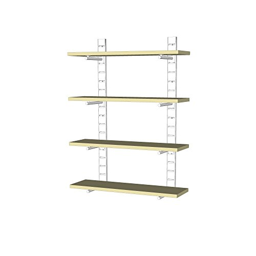UDIZINE Modern Metal Shelving Unit - Wall Mounted - Great Choice for Your Home & Office - For 4 Wood Shelves (Shelves Not Included) (Metal Shelving Wall Unit compare prices)