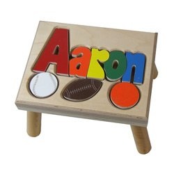Sports Primary Puzzle Name Stool- 1-8 Letters color Natural by Ababy