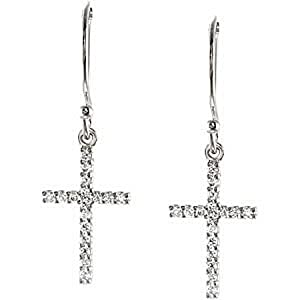 14k White Gold Tiny Diamond Cross Earrings - 1/6 Cttw