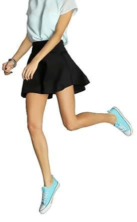 bestyledberlin Damen Rock, kurze Röcke im a-shape, Skaterrock / Minirock 09p 42/XL schwarz