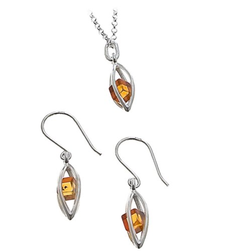 Millennium Collection Honey Amber and Sterling Silver Marquise-shaped Set, 18