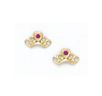 14K Yellow red baby Crown Earring