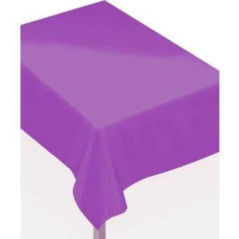 "Indoor/Outdoor Oblong Flannel Backed Vinyl Table Cover in Solid Color Design, 52' x 90"", New Purple - 1"