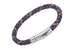 Unique Men 21cm Antique Pacific Leather Bracelet With Stainless Steel Clasp by Unique Jewelry Ltd