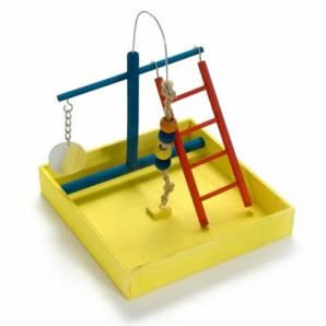 JW Pet Company Wood Play Gym Small Bird Toy 9in Width x 1.75in Depth x 7.5in Ht.