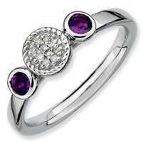 0.35ct Stackable Round Amethyst & Diamond Ring Band. Sizes 5-10 Available