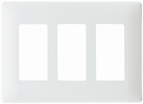 Pass & Seymour SWP263WBPCC10 Screw Less Wall Plate Plastic Sub Plate Three Gang, White
