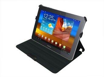 Navitech schwarzes bycast Leder Case / Cover mit Ständer für das Samsung Galaxy Tab 2 10.1 P5100 und P5110 Android 4.0 Gerät