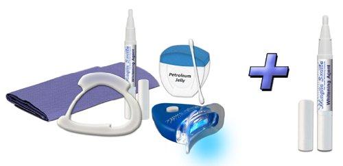 New Teeth Whitening Home Bleaching Kit + Maintnace Whitening Pen, Fresh High Strength Hydeogen Peroxide Gel Set, Professional Dental Whitener System, Led Light & Keep It White Pen. Us Made