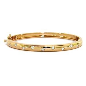 14k Yellow Gold 0.5ct Diamond Bangle - 7 Inch - JewelryWeb