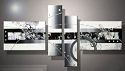 Wieco Art - White Black Lines Point Large Modern Stretched and Framed 4 Panels Contemporary Abstract 100% Hand Painted Oil Paintings on Canvas Wall Art Work for Living Room Bedroom Home Decor L