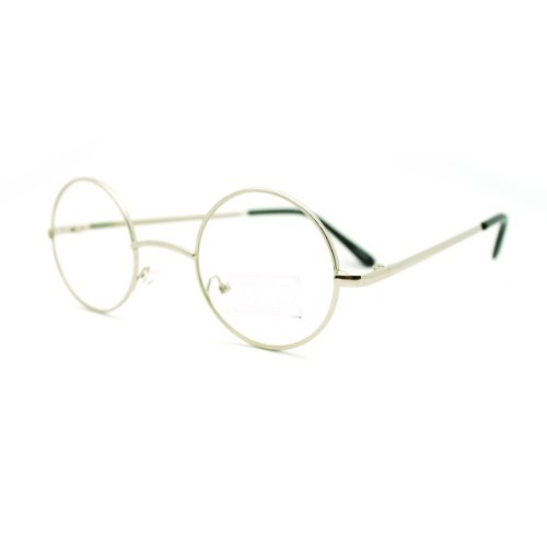 Small Glasses Frame Size : Silver Round Circle Clear Lens Eyeglasses Small Size Thin ...