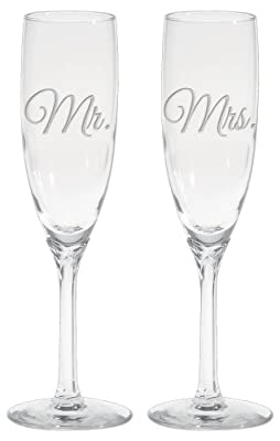 Culver 2-Piece Etched Mr. and Mrs. Flute Glasses Set, 6-Ounce