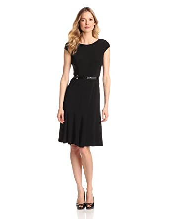 Anne Klein Women's Cap Sleeve Solid Dress, Black, 2