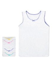 5 Pack Pure Cotton Scallop Trim Vests