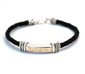 Gold & Silver Traveler's Prayer Jewish Charm Bracelet for Men