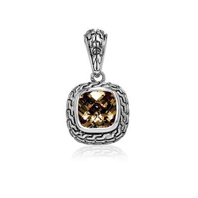 New Fashion Necklace Pendant Jewelry Sterling Silver Plated Center Square Brown Topaz CZ and Black Finish Design(WoW !With Purchase Over $50 Receive A Marcrame Bracelet Free)