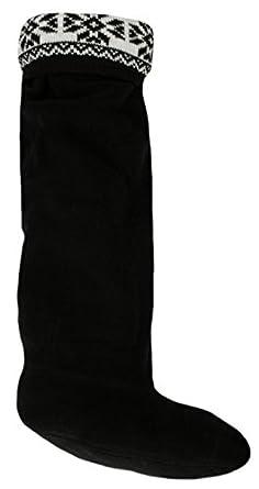 Ladies Fairisle Top Fleece Wellie Wellington Boot Socks Liners Black 3-5