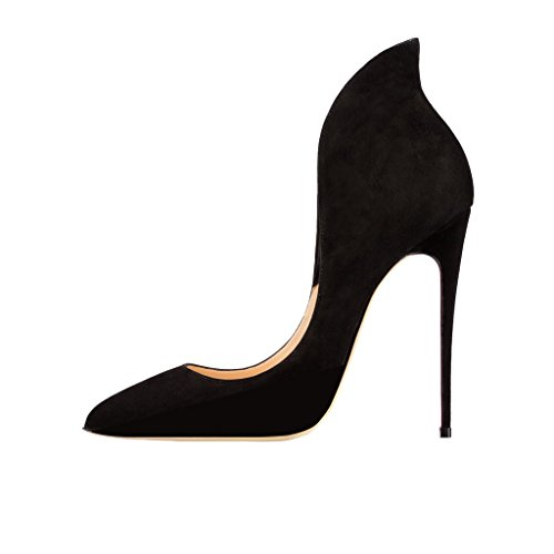 FSJ Chic Evening Shoes for Women High Heels Pointed Toe Pumps Size 6 Black
