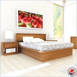 Sonax Manning Contemporary Enternity Walnut Double Bed 3 Piece Set