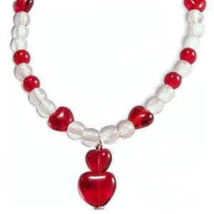Candy Apple Red Heart Czech Glass Bead Childs Bracelet Sterling Silver