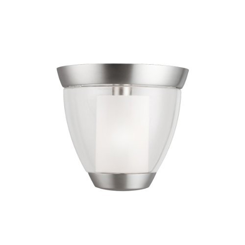 Kichler Lighting 3695Ni Circolo Semi-Flush Wall Sconce, Brushed Nickel With Clear Glass Cylinders And Satin-Etched Inner Cylinders