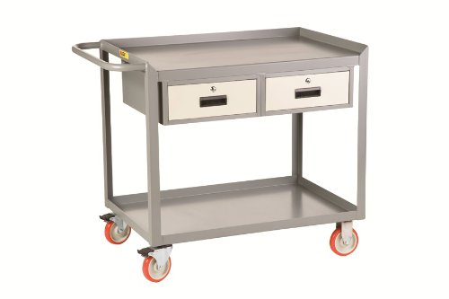 """Little Giant Mw-2436-5Tl-2Dr Mobile Workstation With 2 Storage Drawer, 1200 Lbs Capacity, 36"""" Length X 24"""" Width, 2 Shelves"""
