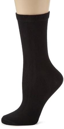 Anne Klein Women's 3 Pack Knit Crew Socks, Black/Black/Black, One Size