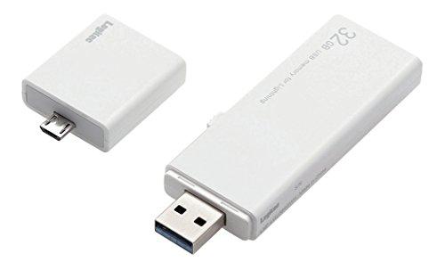 Logitec iPhone・iPad対応 lightningメモリ 32GB MFI認証 USB3.0 microUSB変換アダプタ付属 LMF-LGU332GWH