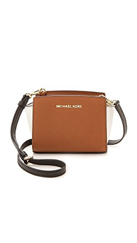 Michael Michael Kors Womens Colorblock Selma Mini Messenger Bag, Luggage/White/Black, One Size