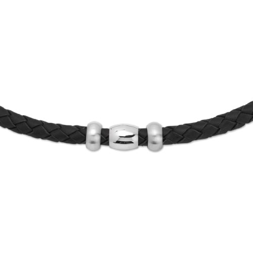 Unique Men 45cm Black Leather Necklace with Steel Beads