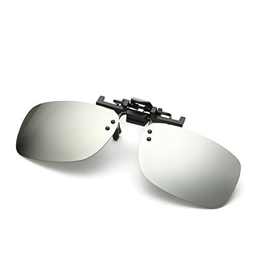 BENNINGCO Men's square type polarizing clip film polarizing driver glasses lens glasses clip film Sunglasses(White)