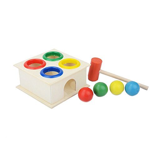 IHOMEILIFE-Childrens-Educational-Colored-Wooden-Pounding-Bench-Toy-Knock-The-Ball-off-Punch-and-Drop