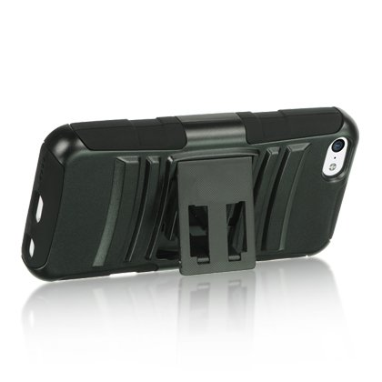 Dream Wireless Snap On Case with Kickstand and Holster Combo for Apple iPhone 5C - Retail Packaging - Black