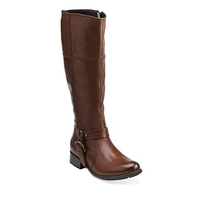 clarks plaza pug womens boots brown leather 10