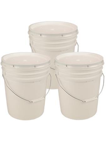 5 Gallon White Bucket & Lid - Set Of 3 - Durable 90 Mil All Purpose Pail - Food Grade - Bpa Free Plastic -