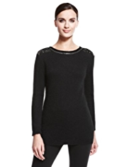 Autograph Bugle Bead Embellished Shoulder Jumper with Angora