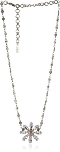 "Sorrelli ""Snow Bunny"" Neutral Crystal Flower Pendant Silver-Tone Necklace"