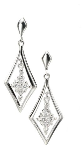 Silver Earrings for Women, Sterling Silver Cubic Zirconia Drop Earrings.