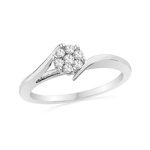 Platinum Plated Sterling Silver Round Diamond Seven Stone Bypass Fashion Ring (0.12 cttw)