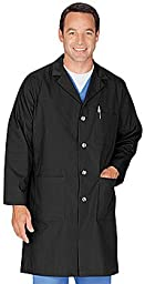 Meta Men\'s and Women\'s Unisex 40 Inch Labcoat With Three Outside Pockets And One Inside Pocket (Black, X-Small)