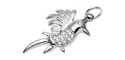 Rosallini Men Silvery Metal Tropical Forest Parrot Wisdom Pendant