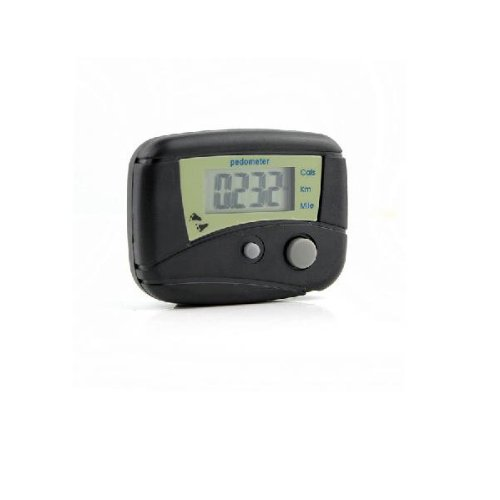 LCD Pedometer Step Calorie Counter Walking Distance(Black)