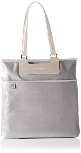Piquadro Shopping, Collezione Aki, in Pelle e Tessuto, 38 cm, Grigio