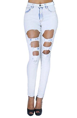 Women's Fashion Comfort Casual Ripped Denim High Wasit Jean Full Length (SIZE : 9, DENIM-JBWP2537)