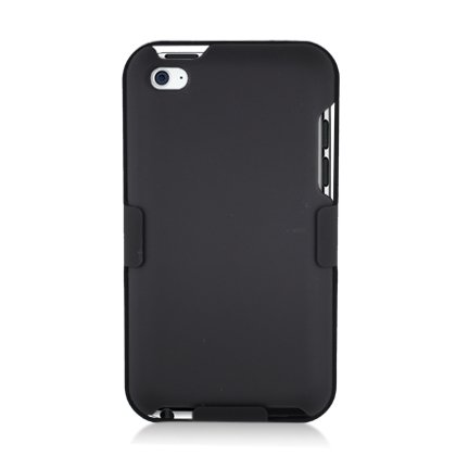 Rubberized Hard Shell Case w/ Ribbed Design Holster & Clip for Apple iPod Touch 4 (4th Generation), Black rubberized hard shell case w ribbed design holster