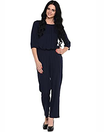 Awesome Ektara Womens Navy Blue Polka Dot Printed Jumpsuit Available At