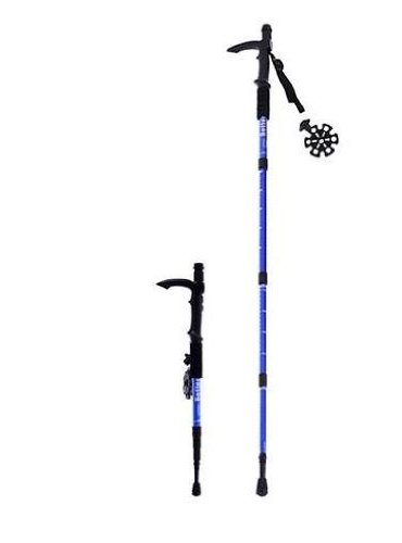 Microgear Ec16329-Blue Durable Antishock Hiking Cane Adjustable Walking Pole Trekking Stick - Red