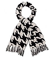 M&S Collection Houndstooth Scarf with Wool