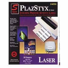 "Simon Marketing Inc Products - Plazstyx Labels F/Laser Printers, Full Sheet, 8-1/2""x11"", WE - Sold as 1 BX - Plastic labels are designed for use black/white laser printers only and can be used for the most demanding applications. Ideal for bar-coding warehouse inventories, outdoor applications, clean room environments (no paper dust) as well as industrial and office furniture. Labels are coated with a special advanced emulsion adhesive. The face stock is tear-resistant, water-resistant, and chem"